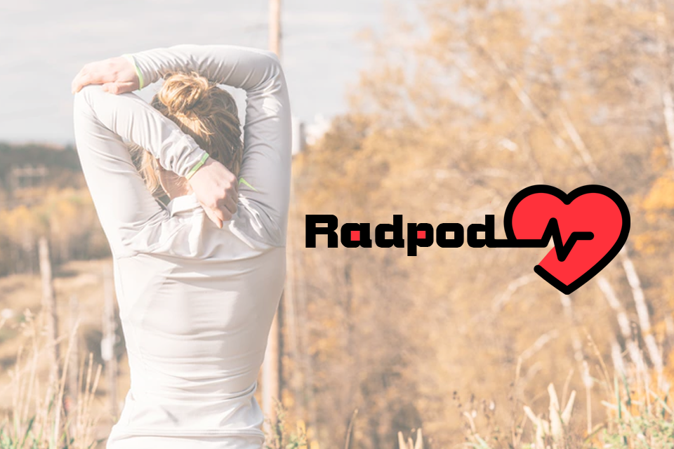 Rapdo about US girl stretching prepaperinf for a jog with rapdop logo - About us